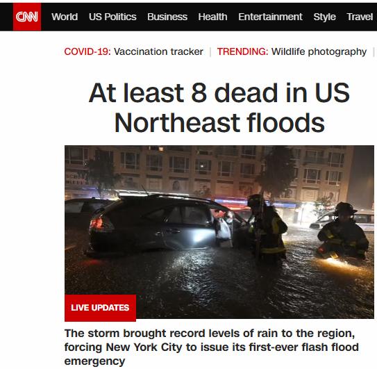美国东北部洪水已致至少8人死亡