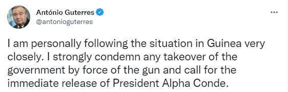 联合国秘书长古特雷斯谴责几内亚特种部队夺取政权
