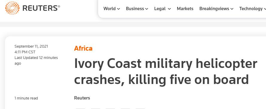 快讯!科特迪瓦国防部:该国一军用直升机坠毁,机上5人全部遇难