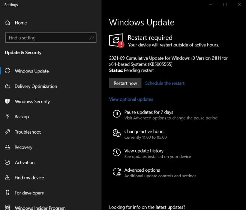 微软推送Win10 9月累积更新KB5005565,修复蓝牙与中文输入问题
