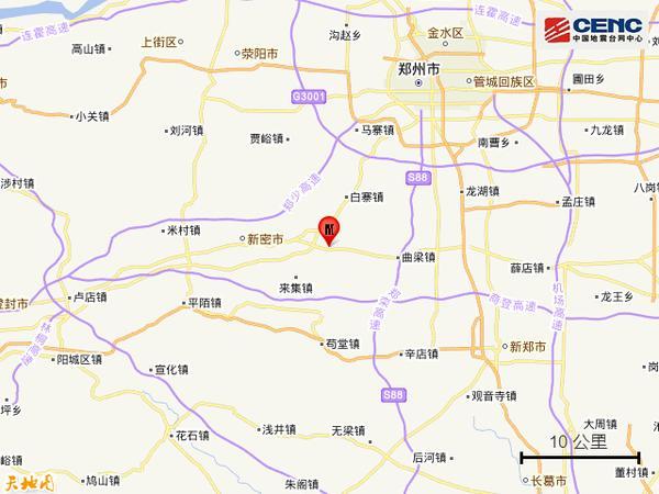 河南郑州市新密市发生3.0级地震