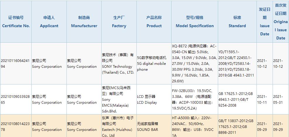 索尼Xperia新机通过3C认证,支持30W快充