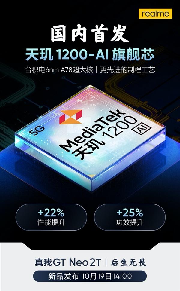 realme GT Neo2T国内首发天玑1200 AI版:台积电6nm A78大核