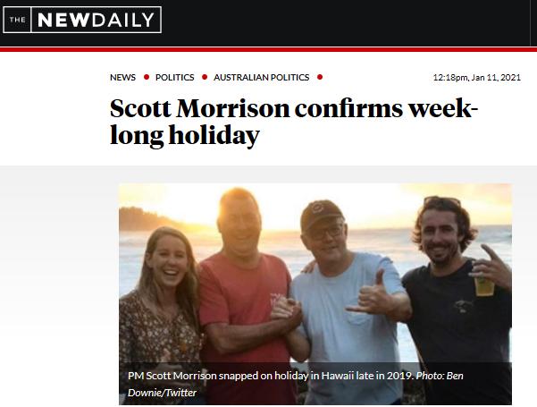 莫里森又休假了 澳大利亚网友炸锅