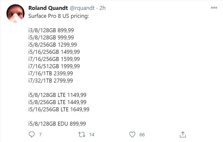 微软Surface Pro 8美国售价曝光,砍掉4GB内存机型