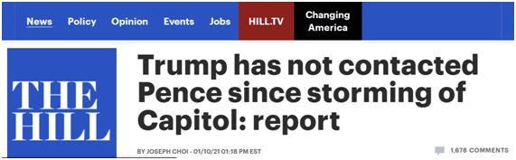 美媒爆:国会骚乱后,特朗普没联系过彭斯