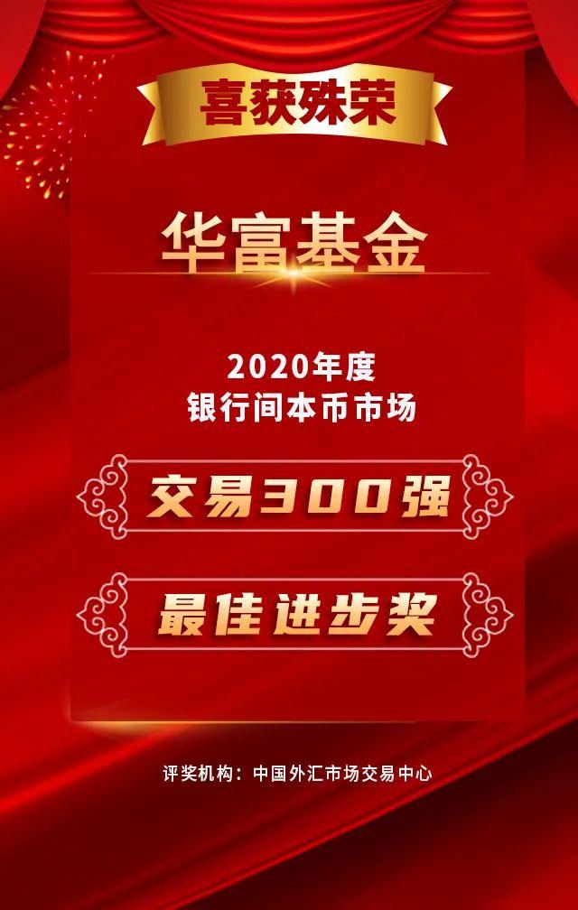 【喜迎捷报】华富基金蝉联2020年度银行间本币市场交易300强,勇夺最佳进步奖!