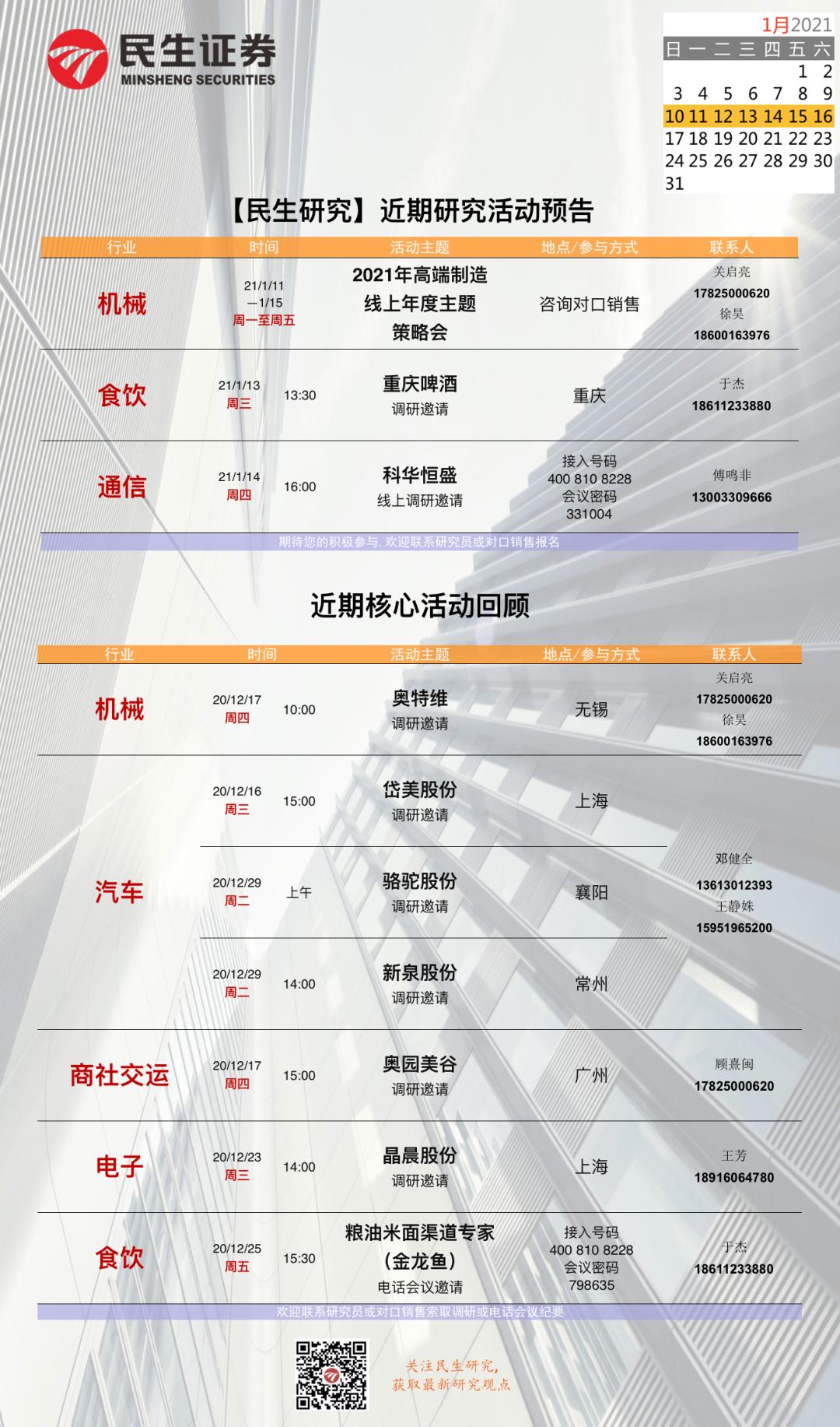 【民生证券研究院】晨会纪要20210112