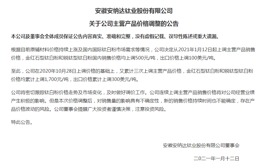 新一轮涨价潮:钛白粉龙头涨价后创新高 两公司宣布跟涨500元/吨