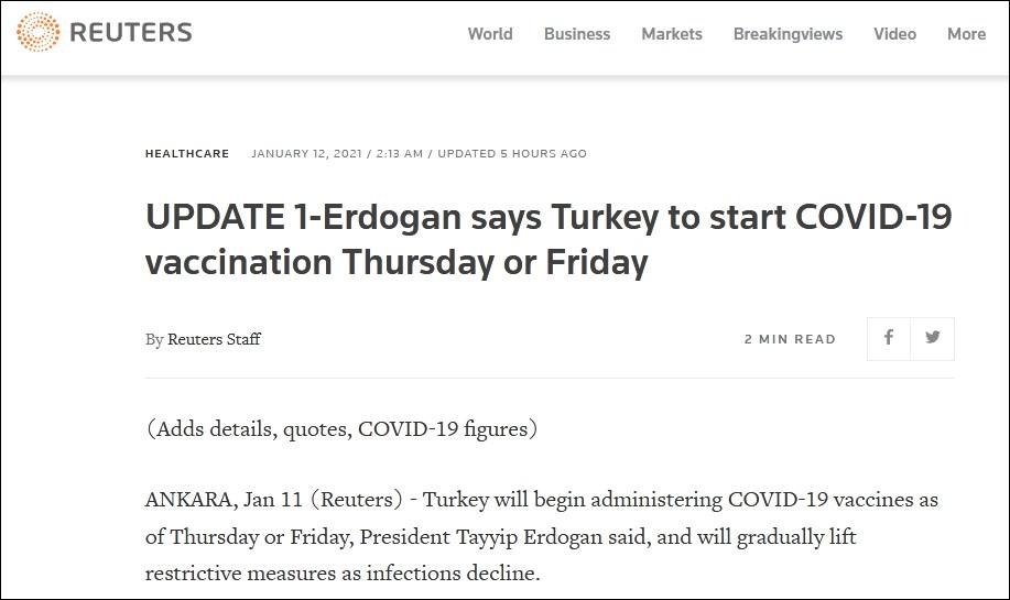 土耳其总统:土耳其将在两到三天后开始接种中国疫苗图片