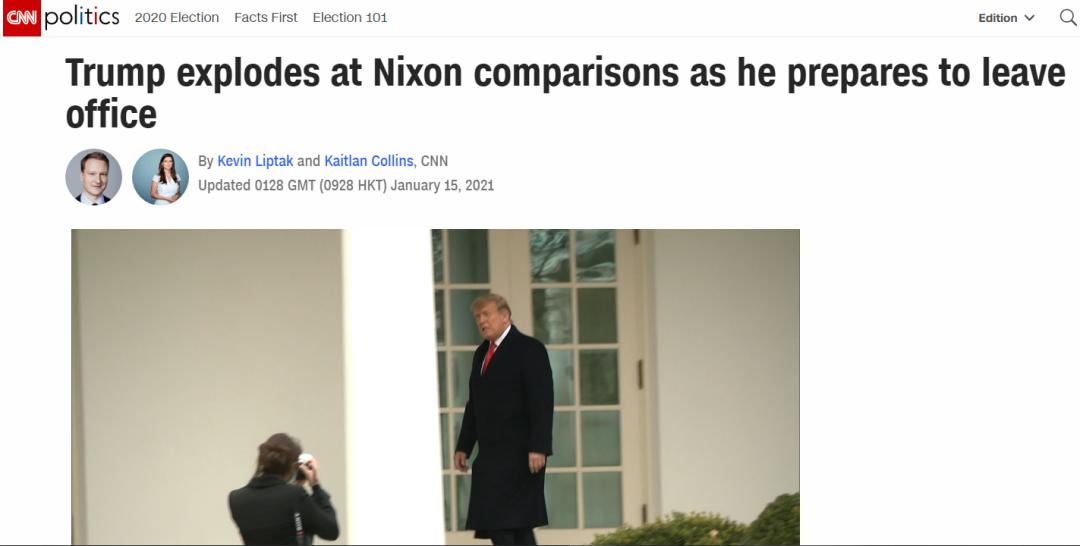 """离职前夕 特朗普要求下属""""不许在他面前提尼克松"""""""