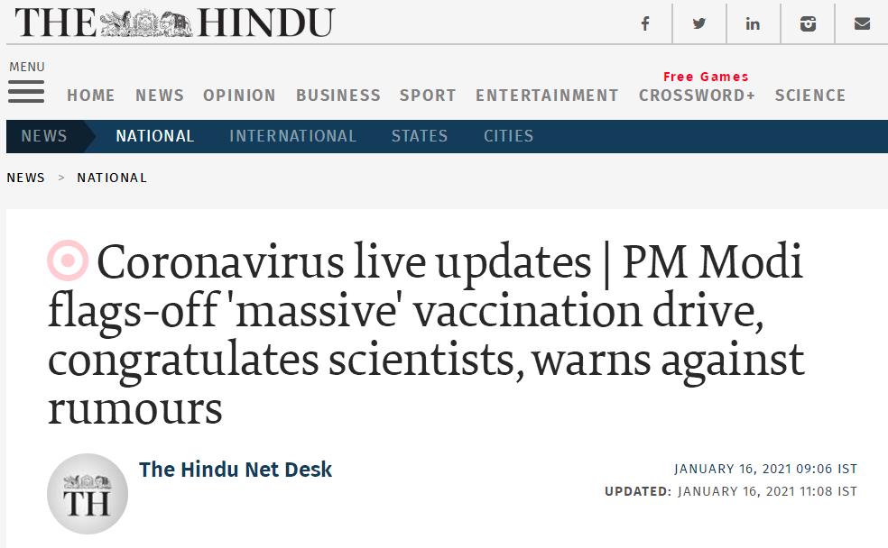 印度启动新冠疫苗接种工作 莫迪讲话:疫苗来了!