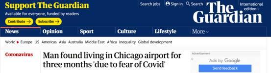 外媒:美一男子因害怕新冠病毒,躲机场住三个月
