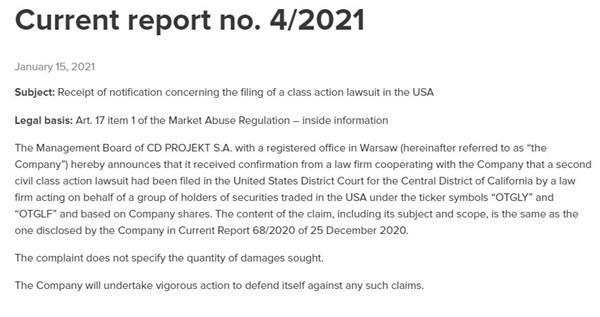 CDPR因《赛博朋克2077》再次面临集体诉讼