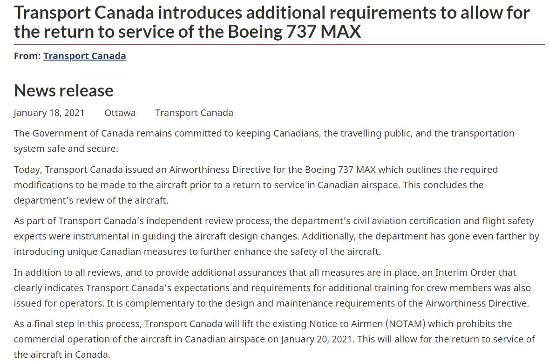 """加拿大解除波音737 MAX禁飞令 称已解决""""所有安全问题"""""""