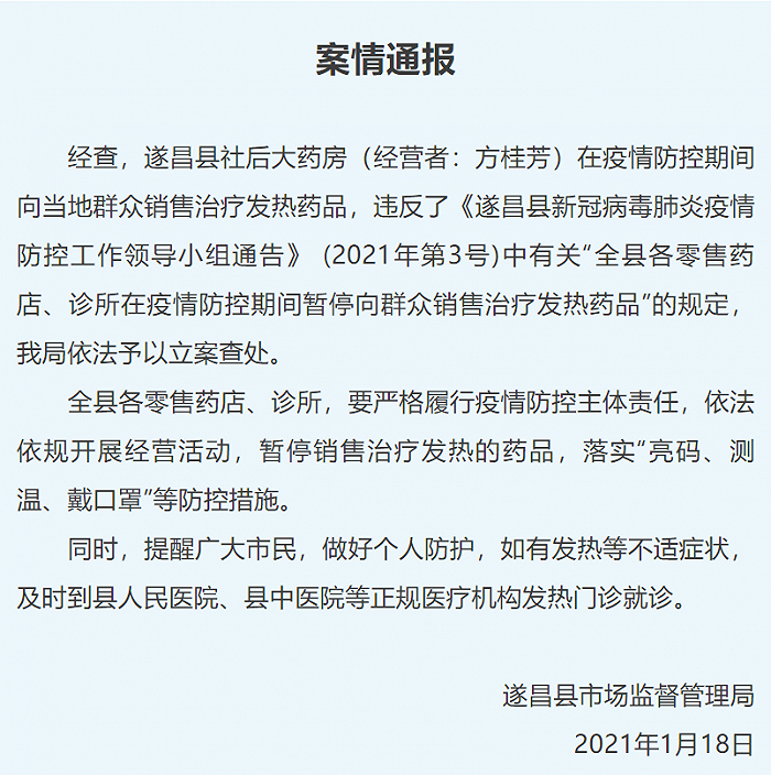 浙江遂昌一药店违规销售治疗发热药品被立案查处图片
