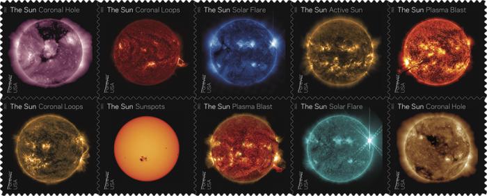 美国邮政发布2021特色邮票 NASA拍摄的炫目太阳组图上榜