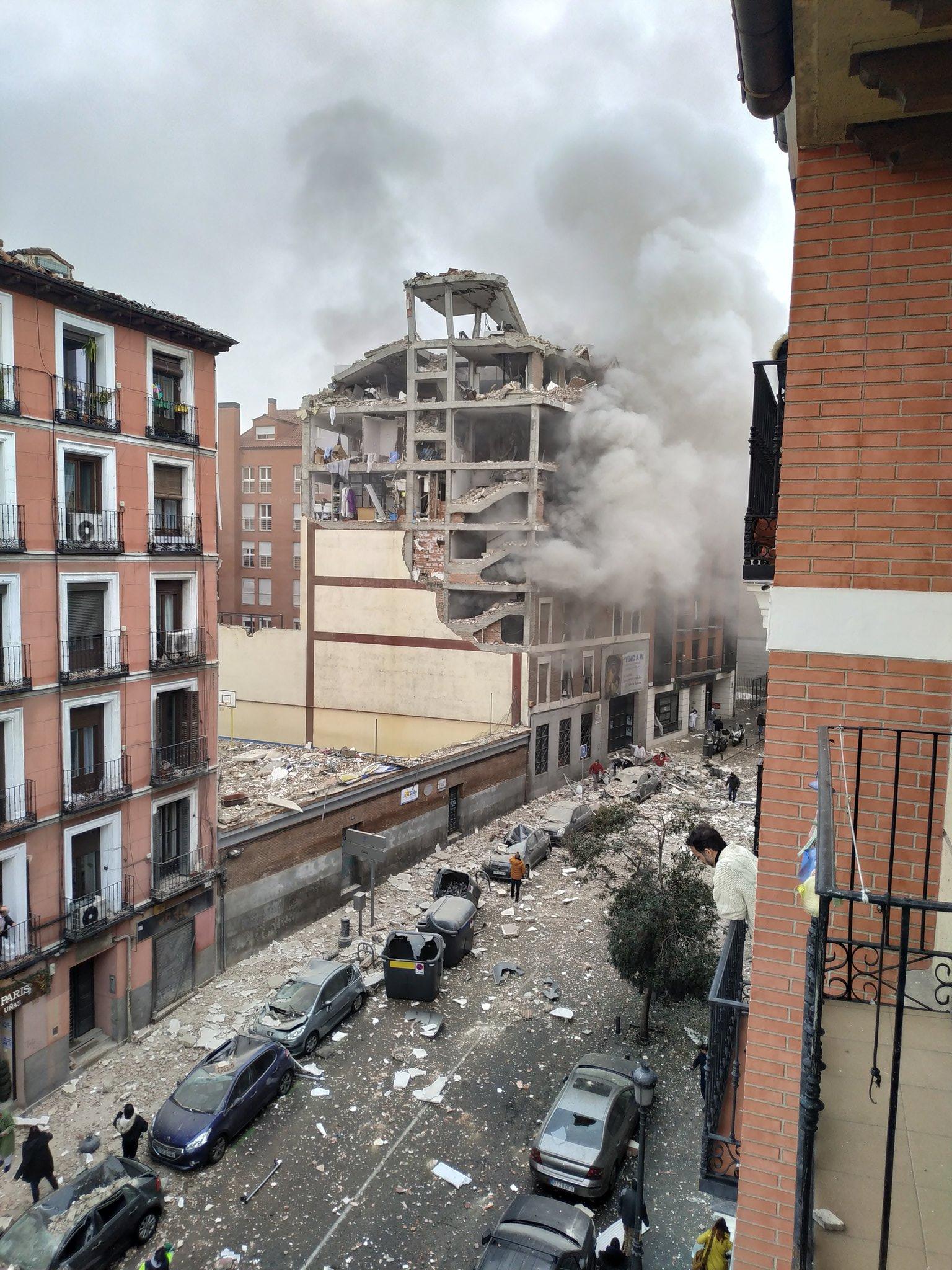 西班牙马德里市中心的一处建筑发生强烈爆炸