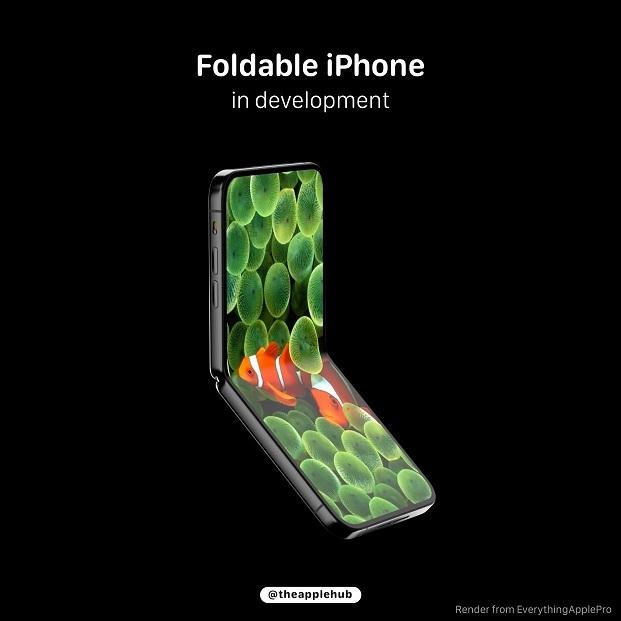 折叠屏iPhone渲染图曝光!上下翻折、刘海消失
