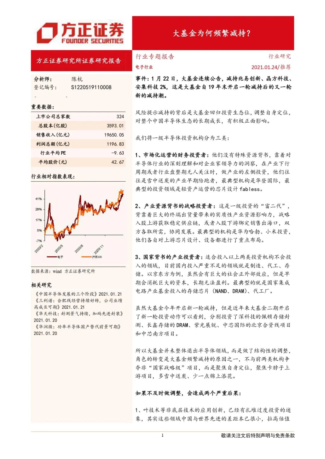 方正证券陈杭:集成电路大基金为何频繁减持?