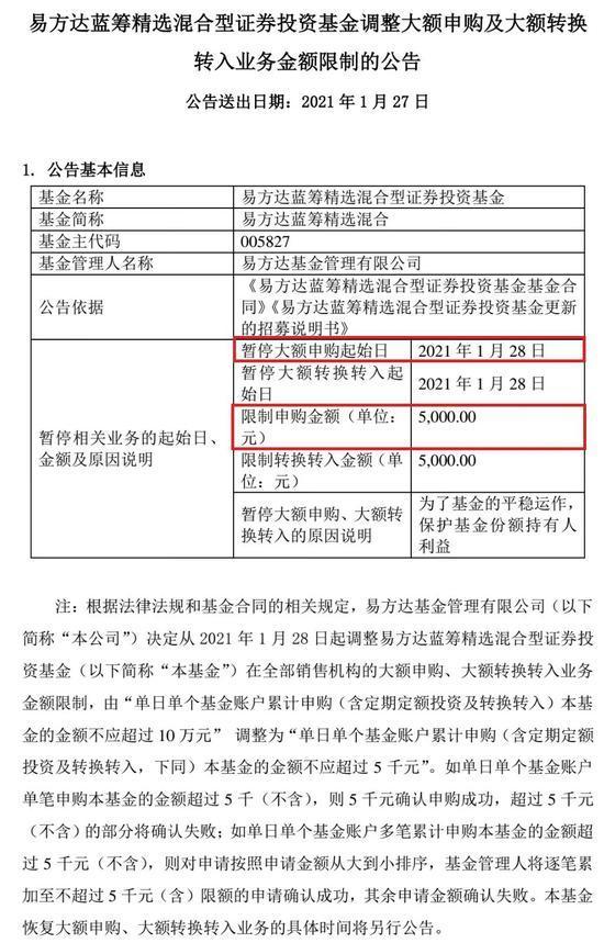 """""""最牛""""基金经理张坤放大招 700亿易方达蓝筹精选限购大升级"""
