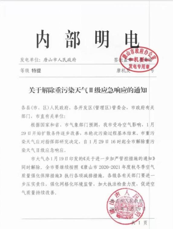 唐山市解除重污染天气Ⅱ级应急响应