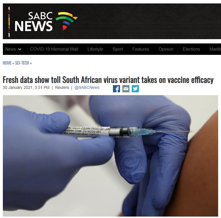 南非发现的变种毒株面前 4家美产疫苗有效率大打折扣