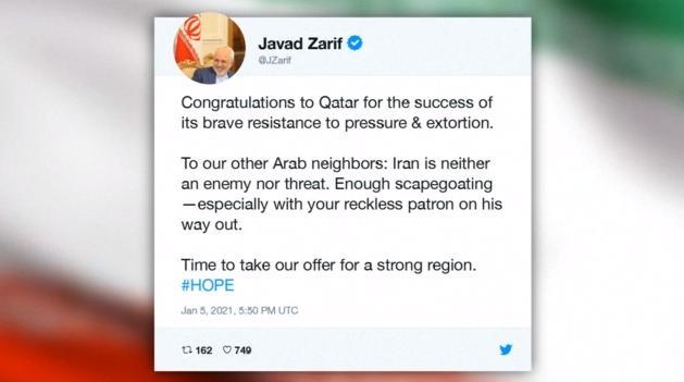 伊朗外长祝贺卡塔尔 强调伊朗不是敌人,也不是威胁