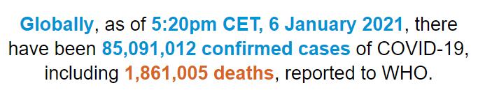 世卫组织:全球新冠肺炎确诊病例超过8509万例