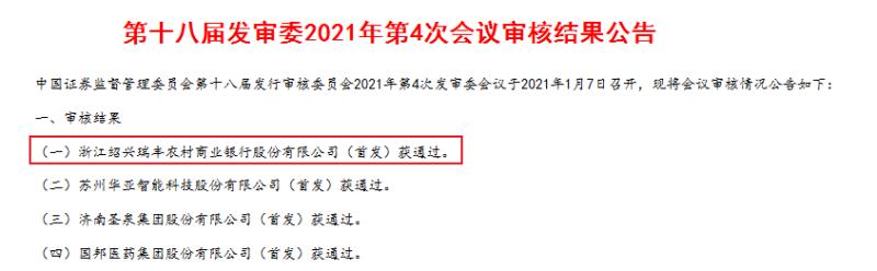 """中小行""""补血""""迫切  瑞丰农商行成2021年首家过会"""