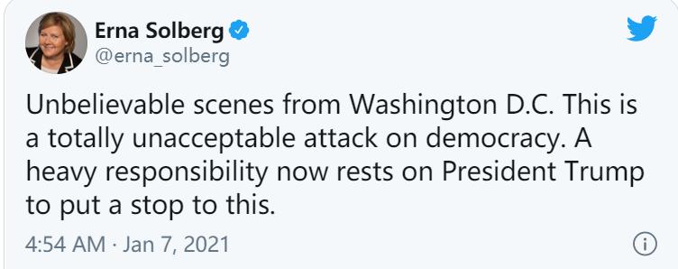 挪威首相发推:华盛顿特区的场面令人难以置信!