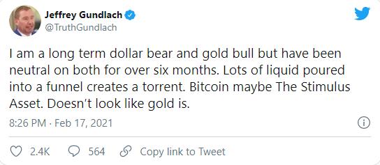 """黄金死多头态度突转弯!""""新债王""""冈拉克:比特币或成下一个""""刺激资产"""" 对黄金由看多转为看平"""