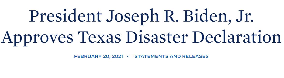 拜登批准美国得克萨斯州进入重大灾难状态