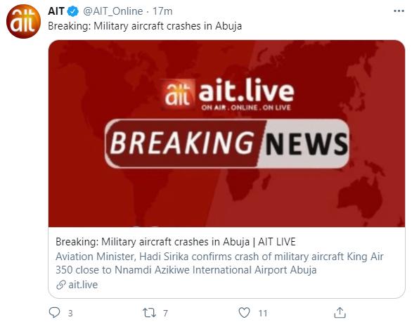 外媒:尼日利亚军用飞机在机场附近坠毁 致6人死亡