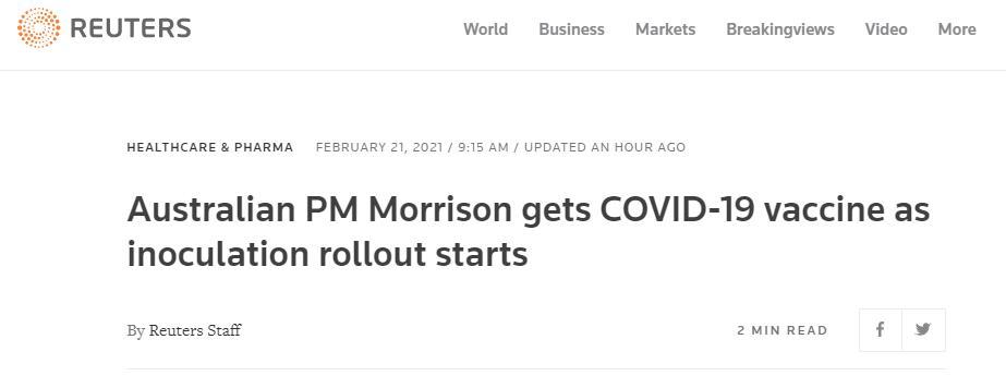 澳大利亚今天启动新冠疫苗接种工作,莫里森首日接种