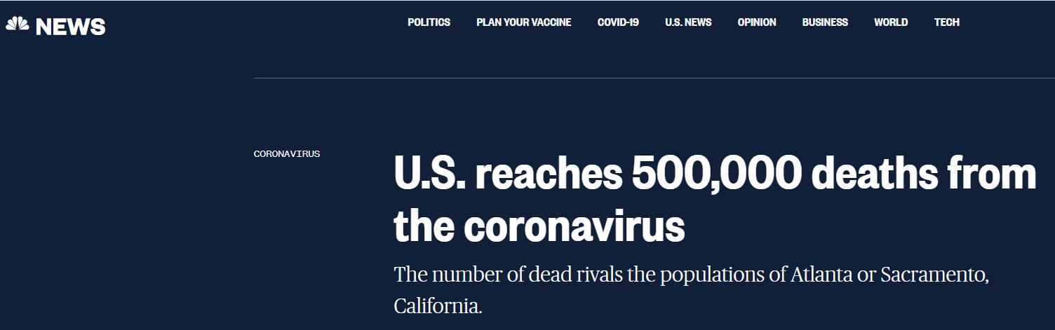 美国全国广播公司最新统计:美新冠死亡病例已超50万