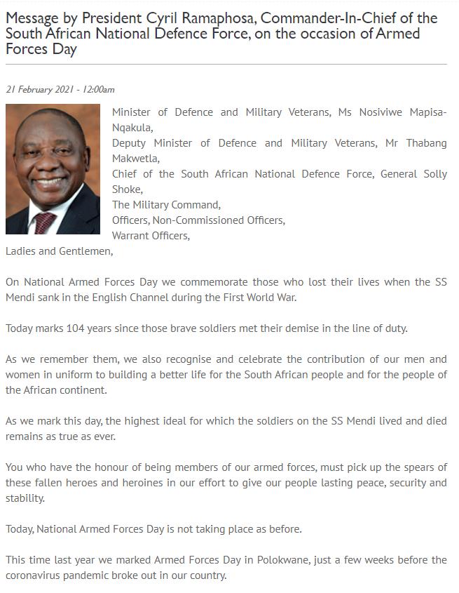 南非举行武装部队日庆祝活动