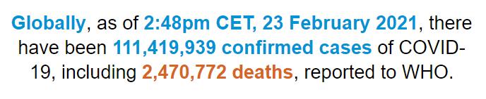 世卫组织:全球新冠肺炎确诊病例超1.114亿例