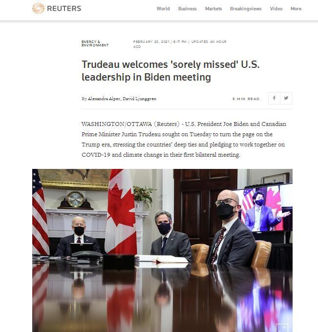 美加领导人首次双边会晤 特鲁多拿拜登与特朗普相