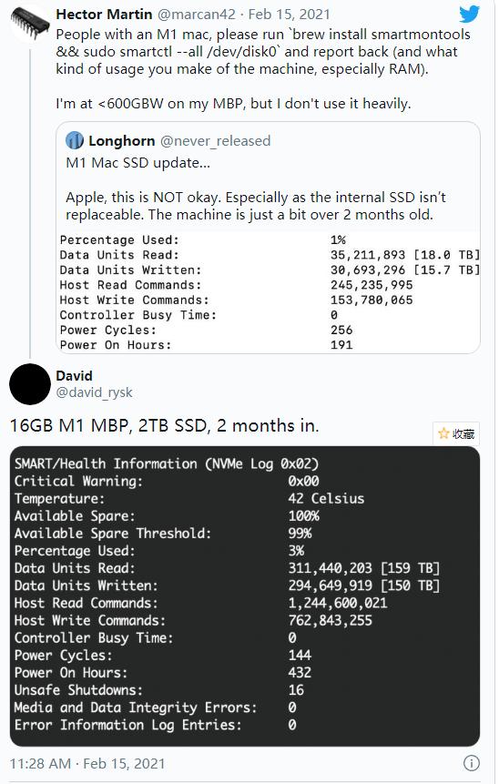 """苹果M1处理器Mac""""翻车"""":用户吐槽SSD写入量过高"""