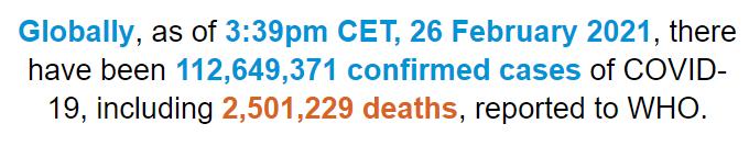 世卫组织:全球新冠肺炎确诊病例超过1.126亿例