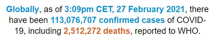 世卫组织:全球新冠肺炎确诊病例超过1.130亿例