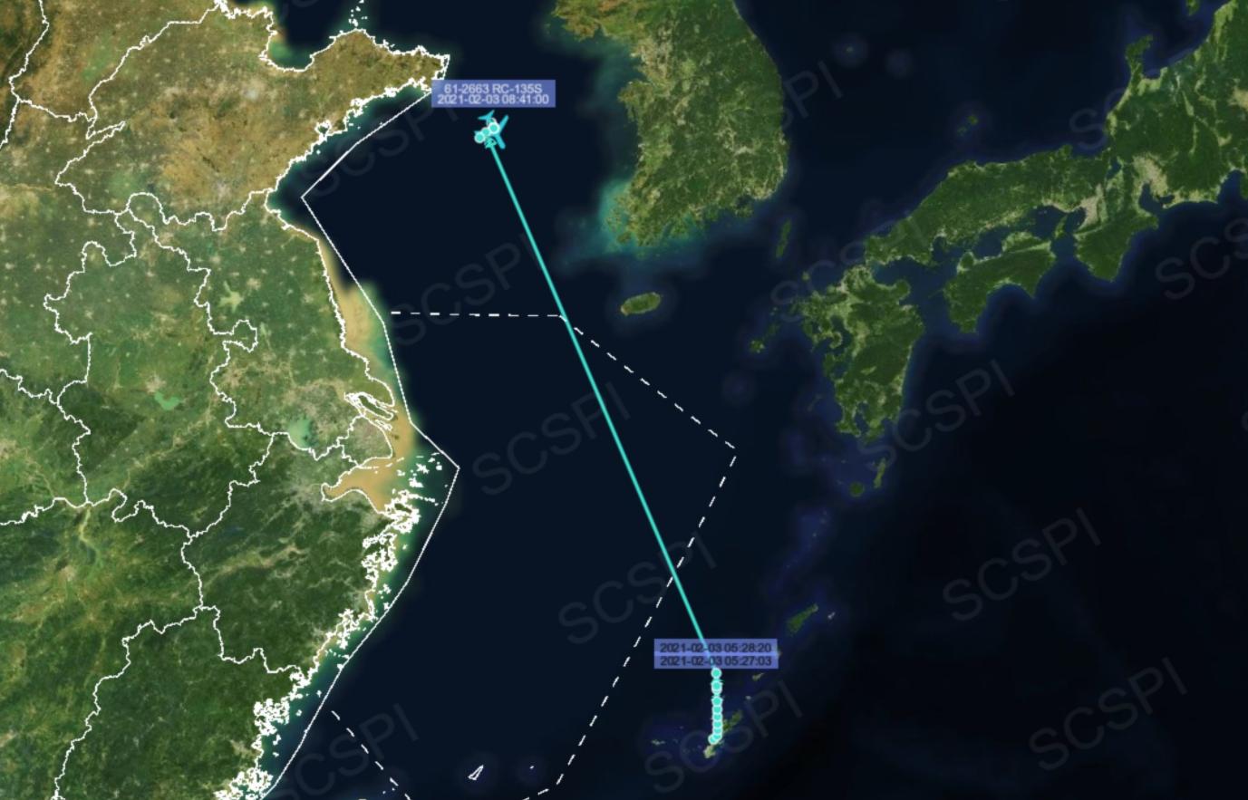 """美军""""导弹监视机""""被曝现身黄海上空,飞至胶东半岛附近图片"""