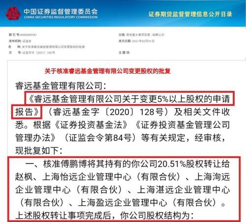 陈光明旗下千亿睿远基金股权激励获批 赵枫拿下4.99%