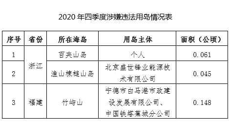 2020年四序度涉嫌违法修建物用海情形表