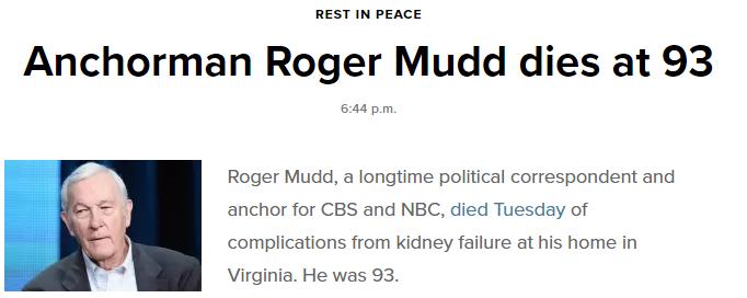 美国CBS主播罗杰-穆德因病去世,终年93岁