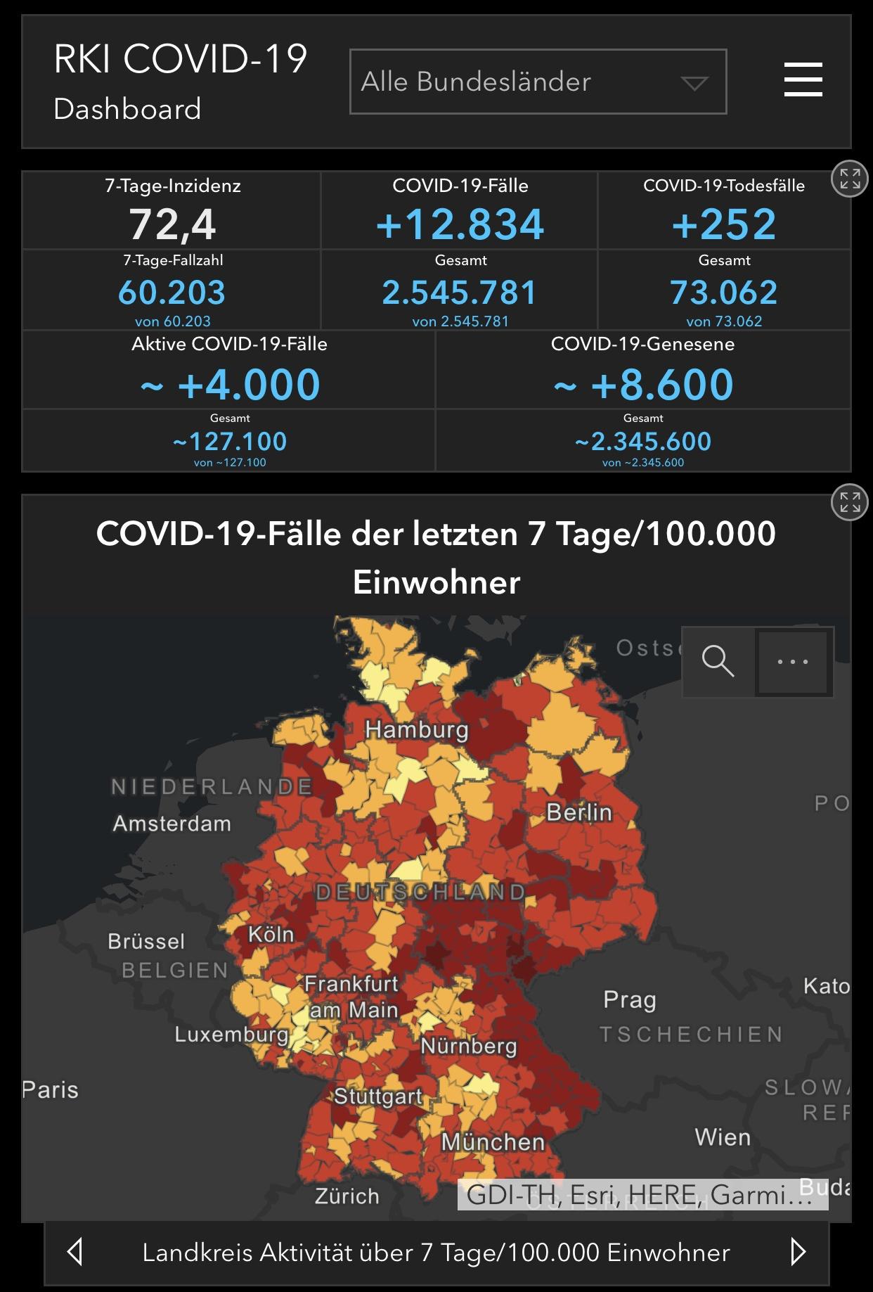 德国累计确诊新冠肺炎病例254万例 7天感染率回升