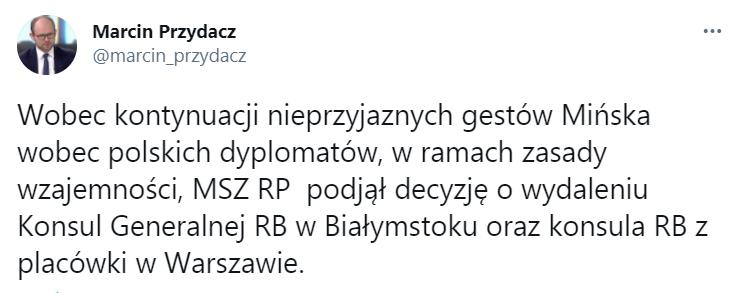波兰宣布驱逐两名白俄罗斯外交官
