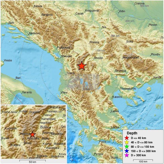 北马其顿发生数次地震 最大震级里氏4.9级