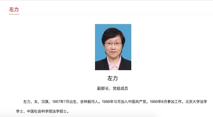 左力履新司法部副部长 成为司法部部领导中唯一女性图片